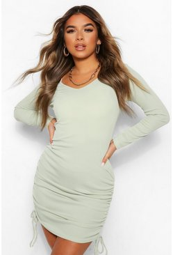 Sage green Petite Long Sleeve Ruched Side Mini Dress
