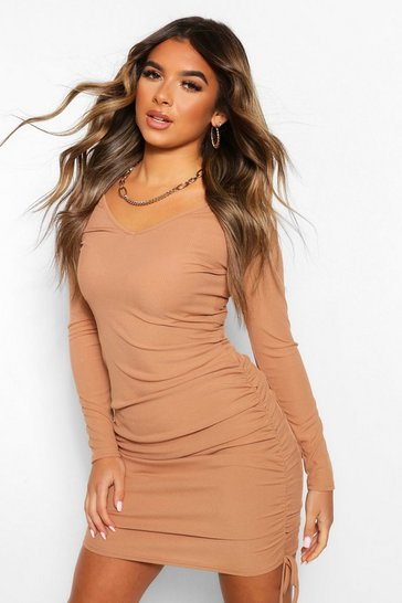 Toffee beige Petite Long Sleeve Ruched Side Mini Dress