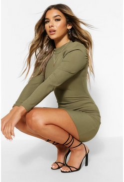 Khaki Petite High Neck Ruched Shoulder Dress