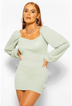 Sage green Petite Rib Volume Sleeve Mini Dress