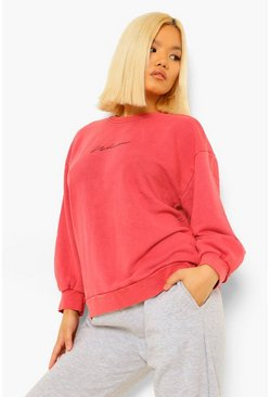 Burgundy red Petite Acid Wash Printed Oversized Sweat
