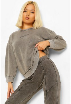 Charcoal grey Petite Acid Wash Printed Oversized Sweat