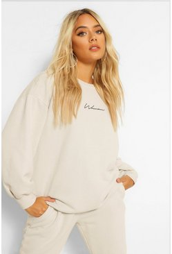 Sand beige Petite Acid Wash Printed Oversized Sweat