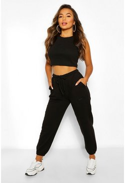 Black Petite Embroidered Joggers