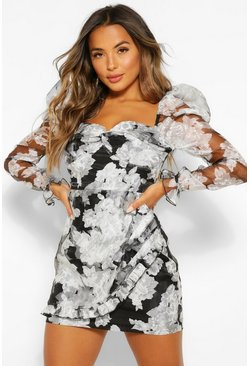 Black Petite Floral Long Sleeve Mini Dress