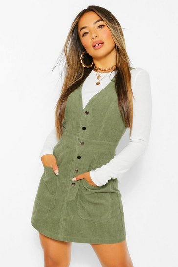 Khaki Petite V-Neck Cord Button Front Pinafore Dress