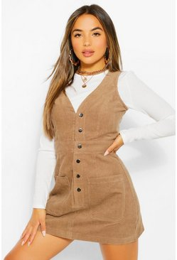 Stone beige Petite V-Neck Cord Button Front Pinafore Dress