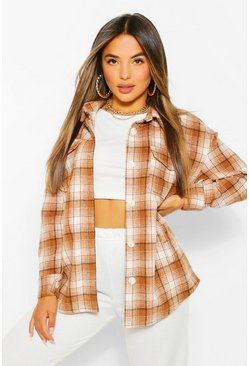 Brown Petite Check Wool Look Shacket
