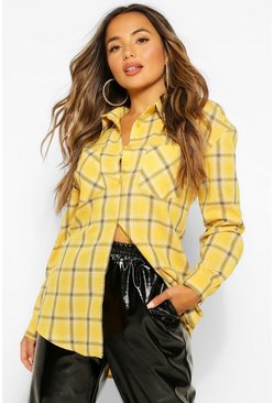Yellow Petite Pocket Front Check Shirt