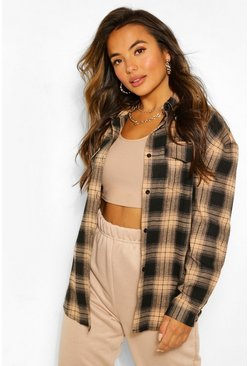 Black Petite Oversized Check Shirt