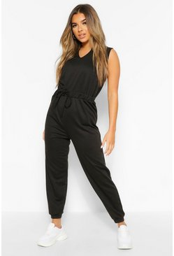 Black Petite Notch Neck Jumpsuit