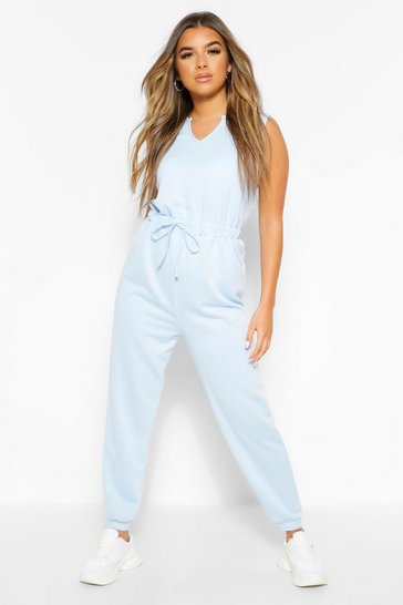 Blue Petite Notch Neck Jumpsuit