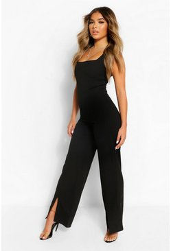 Black Petite Square Neck Split Hem Wide Leg Jumpsuit