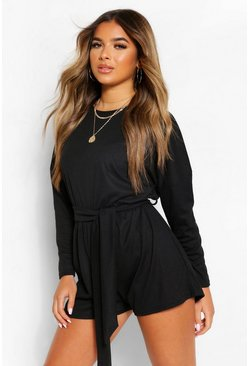Black Petite Rib Oversized Long Sleeve Belted Playsuit