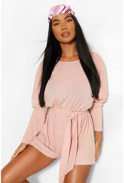 Blush pink Petite Rib Oversized Long Sleeve Belted Playsuit