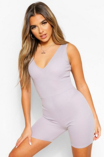 Grey Petite Rib Plunge Cycle Short Playsuit