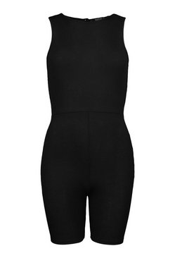 Black Petite Rib Sleeveless Cycle Short Playsuit