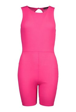 Pink Petite Rib Sleeveless Cycle Short Playsuit