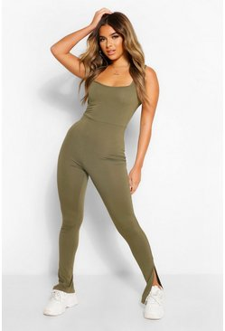Light khaki khaki Petite Square Neck Split Hem Jumpsuit