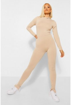 Stone beige Petite High Neck Side Stripe Jumpsuit