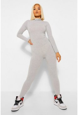 Grey Petite High Neck Long Sleeve Jumpsuit