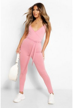 Pink Petite Wrap Front Strappy Jumpsuit