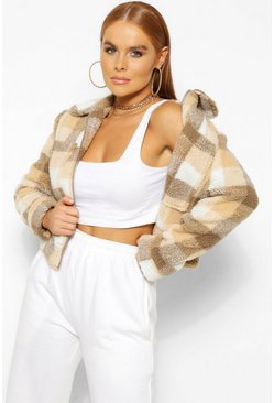 Tan brown Petite Check Teddy Jacket