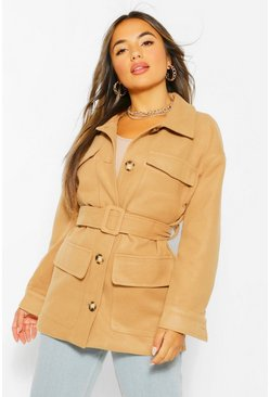 Camel beige Petite Wool Look Belted Jacket