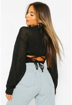 Black Petite Knitted Back Tie Detail Jumper