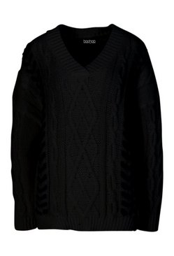 Black Petite Knitted Contrast Stitch Jumper