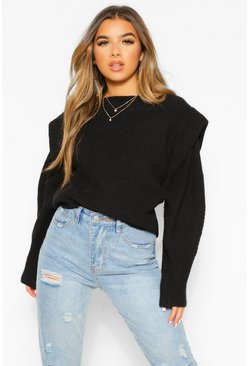Black Petite Knitted Cap Shoulder Long Sleeve Jumper
