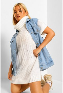 Petite Knitted Roll Neck Sleeveless Jumper, Ivory blanco