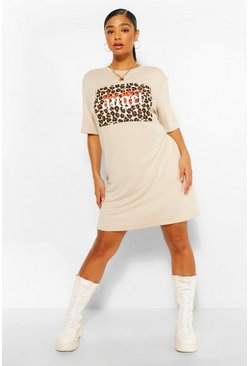 Stone beige Plus Leopard Angel Slogan T-Shirt Dress