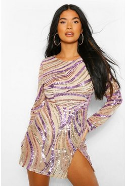 Gold metallic Petite Sequin Front Split Mini Dress
