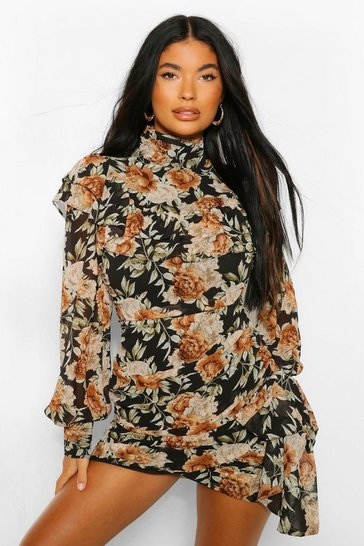 Black Petite Floral High Neck Mini Dress