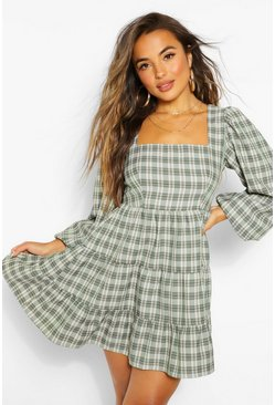 Khaki Petite Check Puff Sleeve Skater Dress