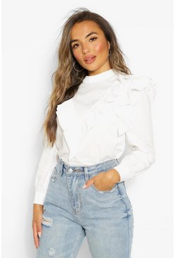 White Petite Frill Collar High Neck Top
