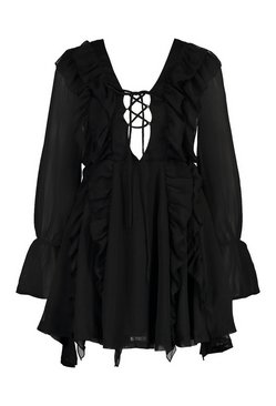 Black Petite Frill Lace Up Mini Dress
