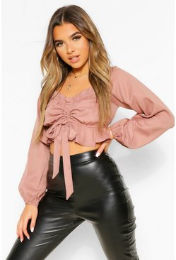Petite Ruched Front Long Sleeve Top, Blush rose