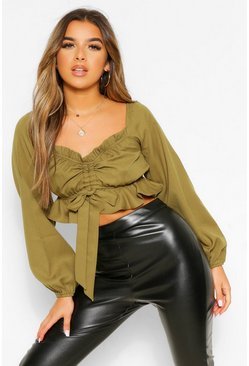 Olive green Petite Ruched Front Long Sleeve Top