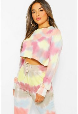 Multi Petite Colourful Tie Dye Cropped Sweatshirt