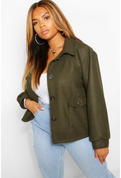 Khaki Plus Wool Look Pocket Detail Jacket