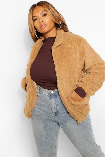 Tan brown Plus Pocket Detail Teddy Bomber Jacket