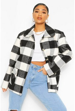 Black Plus Oversized Check Shacket