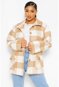 Stone beige Plus Oversized Check Coat