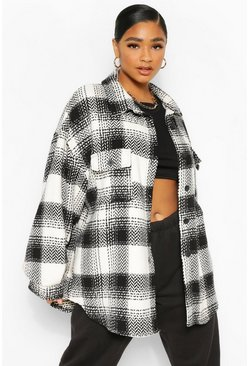 Black Plus Check Oversized Boyfriend Shacket