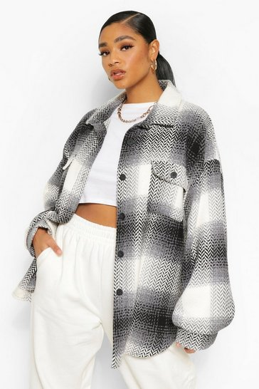 Grey Plus Check Oversized Boyfriend Shacket