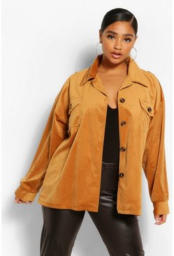 Tan brown Plus Jumbo Cord Oversized Shacket