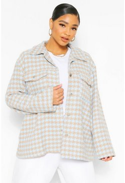 Blue Plus Dogtooth Oversized Shacket