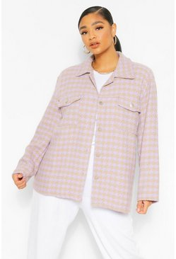 Stone beige Plus Dogtooth Oversized Shacket